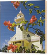 Flowers And Church On Takapoto Atoll Wood Print