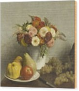 Flowers And Fruit 1865 Wood Print