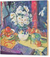 Flowers And Fruit In A Green Bowl Wood Print