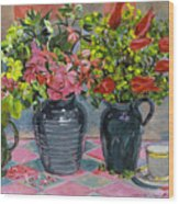 Flowers And Pitchers Wood Print