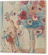 Flowers And Porcelain Wood Print