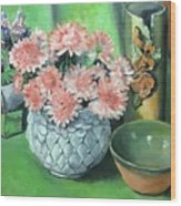 Flowers And Pottery Wood Print