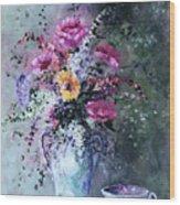 Flowers And Tea Wood Print