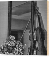 Flowers And Violin In Black And White Wood Print