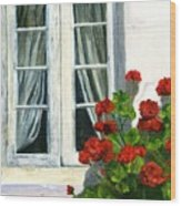 Flowers At The Window Wood Print