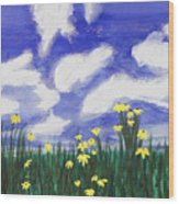Flowers Bright Field Wood Print
