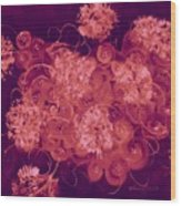 Flowers, Buttons And Ribbons -shades Of Burbundy Rose Wood Print