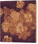 Flowers, Buttons And Ribbons -shades Of Burnt Umber Wood Print