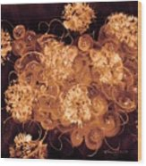 Flowers, Buttons And Ribbons -shades Of  Chocolate Mocha Wood Print