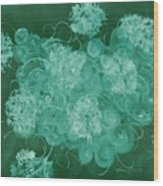 Flowers, Buttons And Ribbons -shades Of Green Wood Print