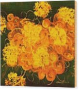 Flowers, Buttons And Ribbons -shades Of Orange/yellow  Wood Print