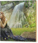 Flowers By The Falls Wood Print