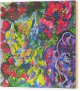 Flowers Color Sketch 1 Wood Print