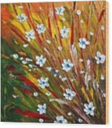 Flowers Field Wood Print