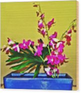 Flowers In A Blue Dish - Japanese House Wood Print