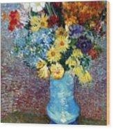 Flowers In A Blue Vase  Wood Print
