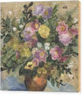 Flowers In A Clay Vase Wood Print