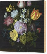 Flowers In A Glass Vase Wood Print