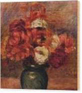 Flowers In A Green Vase Dahlilas And Asters Wood Print