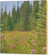 Flowers In A Mountain Glade Wood Print