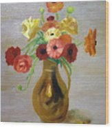 Flowers In A Pitcher -11 Yrs Old Wood Print