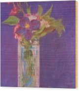 Flowers In A Vase After Manet Wood Print