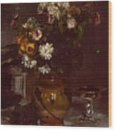 Flowers In A Vase And A Glass Of Champagne Wood Print