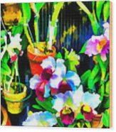 Flowers In Abstract 18 Wood Print
