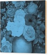 Flowers In Blue Wood Print
