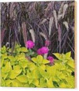 Flowers In Contrast Wood Print