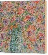 Flowers In Crystal Vase. Wood Print