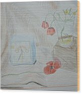 Flowers In Glass. Color Pencils 1992 Wood Print