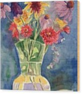 Flowers In Glass Vase Wood Print