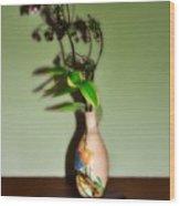 Flowers In Japanese Vase Wood Print