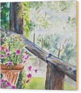 Flowers in Morning Mist Wood Print