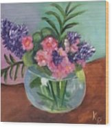 Flowers In Round Glass Vase Wood Print