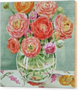 Flowers In The Glass Vase Wood Print