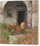 Flowers In The South Wing, Mission San Juan Capistrano, California Wood Print