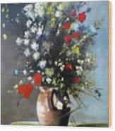 Flowers In Vase Wood Print