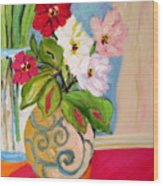 Flowers In Vases Wood Print