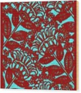 Flowers Indigo Red And Blue Wood Print
