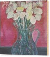 Flowers Inside Glass Pitcher Wood Print