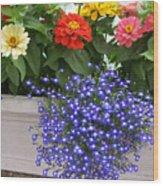 Flowers Of Blue Wood Print