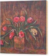 Flowers Of Pink In Vase Wood Print