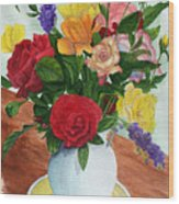 Flowers On A Cat Dish Wood Print