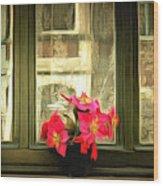 Flowers On A Ledge Wood Print