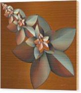 Flowers On Bronze Wood Print