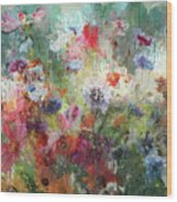 Flowers On Canvas Wood Print