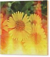 Flowers On Fire Wood Print