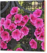 Flowers On Iron Grate In Venice Wood Print